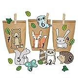 Calendario de Adviento DIY - Animales del Bosque para Pegar - con 24 Bolsas de Papel para Rellenar - Navidad 2018