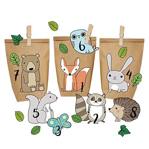 Papierdrachen DIY Adventskalender Kraftpapier Set - Waldtiere zum Aufkleben - mit 24 braunen Papiertüten zum selbst Befüllen und zum Selbermachen - Weihnachten 2018