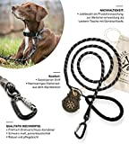 Jack & Russell Premium Hundeleine Kosmo aus Profi-Kletterseil und Twistlock Karabiner Leine Soft-Grip Handschlaufe (Schwarz)