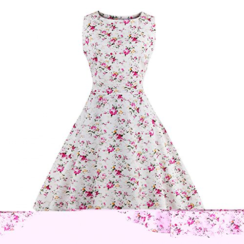 iLover Damen 40er 50er Vintage squard neck Swing Rockabilly Pin Up  Ballkleid Brautjungfer Brautkleid White2