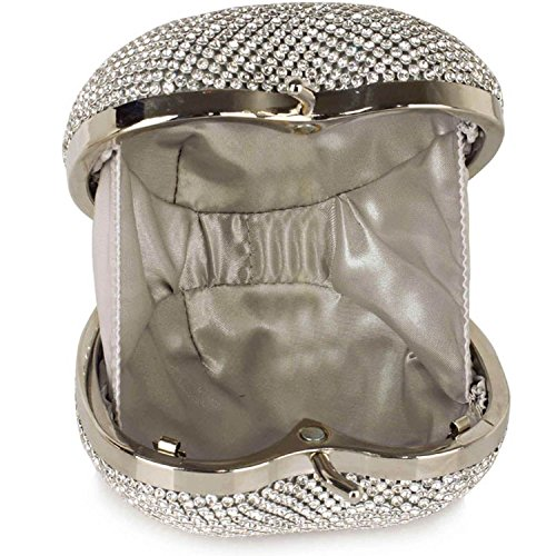 L And S Handbags Sparkly Crystal Diamante Heart Shaped Clutch Evening Bag, Poschette giorno donna Silver