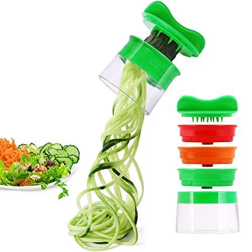 Produktbild Risseen Spiralschneider Hand für Gemüsespaghetti, 3-Klingen Gemüse Spiralschneider, Gemüsehobel