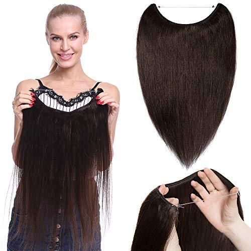 TESS Haarteile Echthaar Extensions günstig 1 Tresse Remy Haarverlängerung mit Draht Haarverdichtung Glatt 16