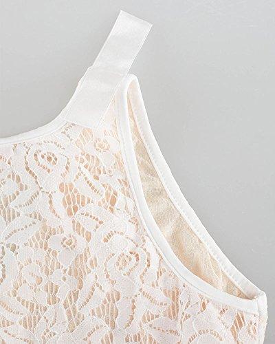 Vestiti Donna Estivi Vintage Senza Maniche Fasciante Girocollo Casual Cocktail Sera Donna Vestito Bianco