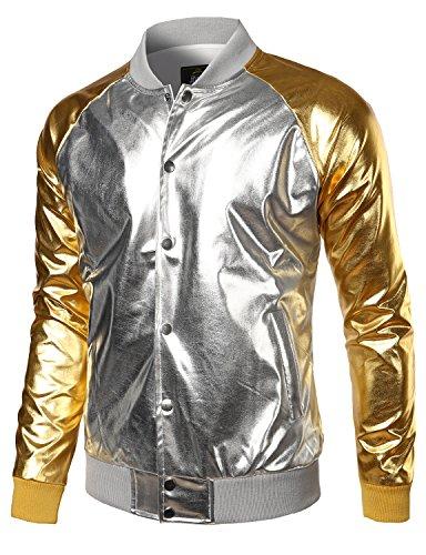 JOGAL Herren Metallic Nachtclub Arten Reißverschluss Varsity Baseball Bomberjacke S Silber_a322 (Um Art, Billig, Halloween-kostüme Einfache)