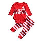 Amlaiworld 0~24Mesi My first Christmas,Natale neonato bambine ragazzi Cervo Romper + pantaloni Regali di Natale (6~12 mesi, rosso)