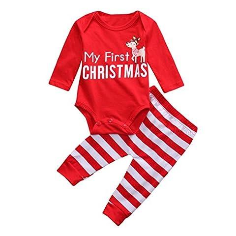 Hirolan Weihnachten Neugeboren Strampler Baby Mädchen Jungen Outfits O-Ausschnitt Kleider Rot 2Stk Lange Hülse Hirsch Spielanzug + Hosen Niedlich Party Anzüge (70cm, Rot)
