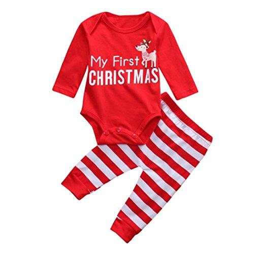 Hirolan Weihnachten Neugeboren Strampler Baby Mädchen Jungen Outfits O-Ausschnitt Kleider Rot 2Stk Lange Hülse Hirsch Spielanzug + Hosen Niedlich Party Anzüge (80cm, Rot)