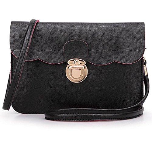 Borsa Familizo Elegant A tracolla in pelle delle donne pochette borsetta Tote borsa Hobo Messenger Nero