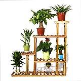 UNHO Legno Fiore Stand Rack 5Alzata Plant Flower Wood Plant Ladder scaffale Bonsai Display Multifunzione Organizer portaoggetti per Indoor Outdoor Patio Balcone Angolo Decorazione