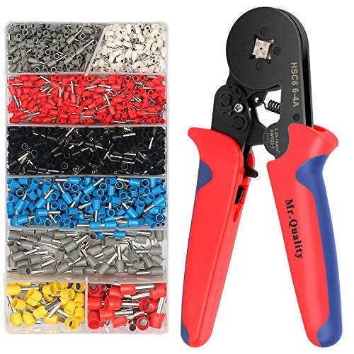 Crimpzangen Aderendhülsen Set mit 1200 Stück Kabelschuhe Crimperkzeug Crimpwerkzeug Set für 0.25-10mm² isolierte und unisolierte Kabelschuhe