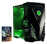 VIBOX Standard 3SW Gaming PC mit Spiel War Thunder, 3.1GHz AMD A8Quad Core Prozessor, Radeon R7Chip Grafikkarte, 1TB HDD, 16GB RAM, Case Predator, Neon Grün