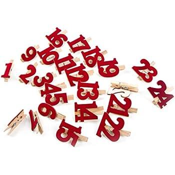 24 kleine Holzklammern schwarz wei/ß shabby chic STERN zum Adventskalender Basteln Klammern 1 bis 24 f/ür Weihnachtskalender Zahlenklammern Holz Nummern