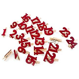 Logbuch-Verlag – Números para Calendario de Adviento, 1-24 Pinzas de Madera, Color Rojo, con números de Fieltro, para Manualidades, Calendario de Adviento