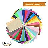 ZADAWERK® Filz - 1 mm - 20 x 30 cm - 45 Farben - 45 Stück