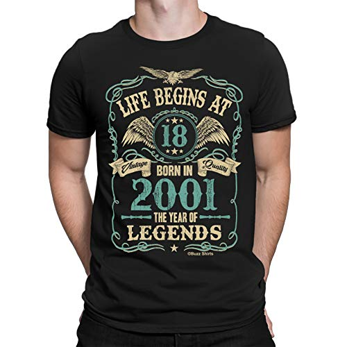 Buzz Shirts Hombre 18th Regalo De Cumpleaños - Life Begins at 18 Hombre T-Shirt - Born in 2001 by (X-Large, Black)