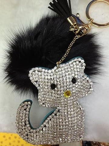 1x Fausse Fourrure Porte-clés Chat strass bijoux support e0353–4(strass noir en fausse fourrure Blanc et Noir PU)