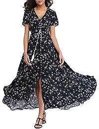 VOGMATE Femme Robe Chic Longue Col V à Fleur Manches Courtes en Coton Robe  Maxi de 6aa3a8a24d3