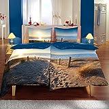 Baumwoll Satin Bettwäsche Wende 135x200 4teilig Sommer Sonne Strand Meer blau