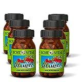 Natürliches - ECHT VITAL Vitamin C - 100 % Acerola-Fruchtpulver mit 420 mg pro Kapsel - 6 Gläser mit jeweils 60 Kapseln