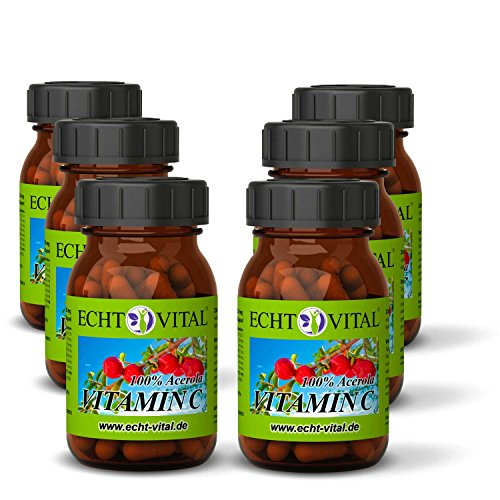 Natürliches - ECHT VITAL Vitamin C - 100% Acerola-Fruchtpulver mit 420 mg pro Kapsel - 6 Gläser mit jeweils 60 Kapseln -