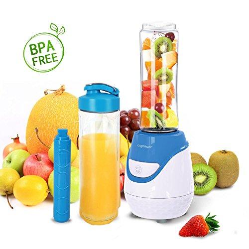 Aigostar Blueberry 30JDI - Mixer 600W Smoothiemaker mit 1 kühl Stock, 2 Reisesportflaschen und 2 Deckel, Tritan Material in Lebensmittelqualität, BPA-frei, 600 ml, Farbe Blau /Weiß.