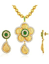 Spargz Floral Gold Plating Emerald CZ Diamond Pendant Necklace And Drop Earrings For Women AIPS 266