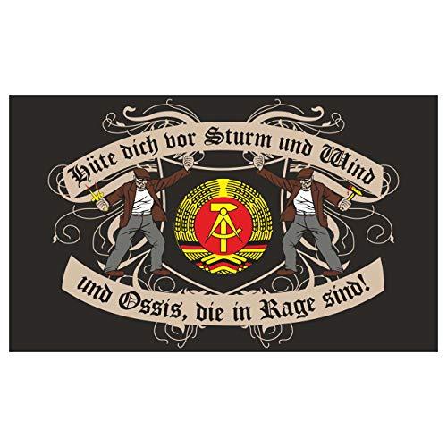 Spass kostet Fahne Flagge Hüte dich vor Ossis DDR 90 x 150 cm schwarz - Flagge Hut