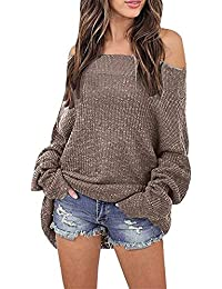 Amayay Damen Pullover Elegante Langarm Carmenbluse Relaxed Oberteile Grobstrick  Casual Unifarben Einfacher Stil Pulli Strickpullover Strickpulli b9e84ad92c