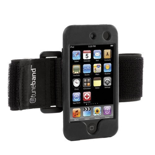 Protector Ipod Screen 4th (TuneBand for iPod touch 4th Generation (Model A1367, 8GB/16GB/32GB/64GB), Grantwood Technology's Armband, Silicone Skin, and Screen Protector, BLACK)