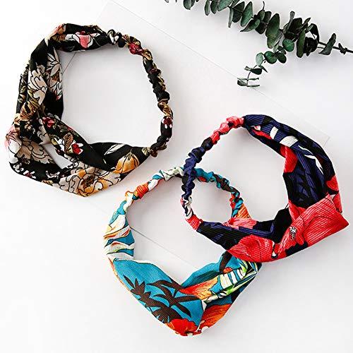 Homeofying Mode Blumendruck Kreuz und quer Frauen elastisches Haarband Yoga Stirnband Kopf Wickeln elastisches Haarband Stirnband für Gesicht waschen Schwarz (Für Haare Zöpfe Wickeln)