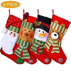 Idea Regalo - YQing 4 Pezzi Calze Natalizie Calze della Befana Grandi, 15 Pollici Calza di Natale Calze per Regali e Dolcetti, Sacchetto Porta Caramelle, con Personaggi Natalizi Decorazioni