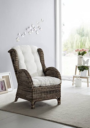 Ohrensessel WING Rattan Farbe dust inkl. Polster creme
