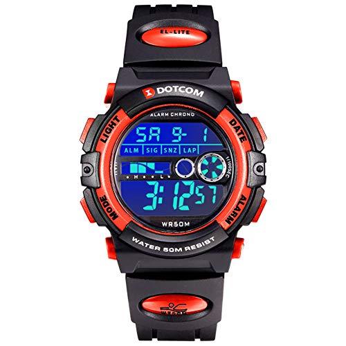Socico Niños Digital Relojes para Niños Deportes-5 ATM Reloj Deportivo Impermeable al Aire Libre con Alarma Cronómetro,Relojes de Pulsera Electrónicos para Niños. (Rojo-L)