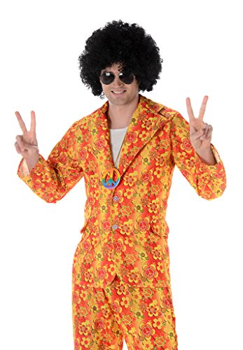 Hippie Suit Mens Fancy Dress 1960s 70s Hippy Groovy Funky Adults Costume Outfit