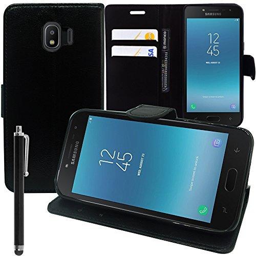 VCOMP Hülle Cover Etui Wallet-Etui Halterung Video Buch Klappe Kunstleder für Samsung-Galaxy J2 Pro (2018) SM-J250F/Galaxy Grand Prime Pro (2018) 5.0