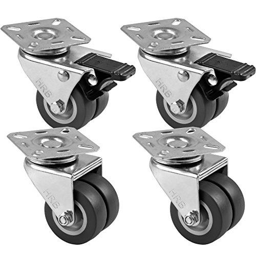 HRB 4 Stück 50mm Strandkorbrollen Lenkrollen 2 mit oder ohne Bremse (2 Stück Lenkrollen mit Bremse, 2 Stück ohne Bremse)