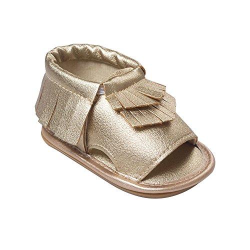 Itaar Toddler Infant Baby Schuhe Sandale mit Quaste weicher Sohle Unisex rutschfest, Goldfarben - Größe: