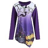 Halloween Sweatshirt Damen Teufel Print Pullover Langarmshirts Bluse Shirt Tops Streetwear SANFASHION