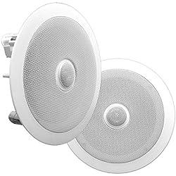 Pyle PDIC60 haut-parleur 125 W Blanc - Hauts-parleurs (2.0 canaux, Avec fil, Terminal, 125 W, 65-22000 Hz, Blanc)