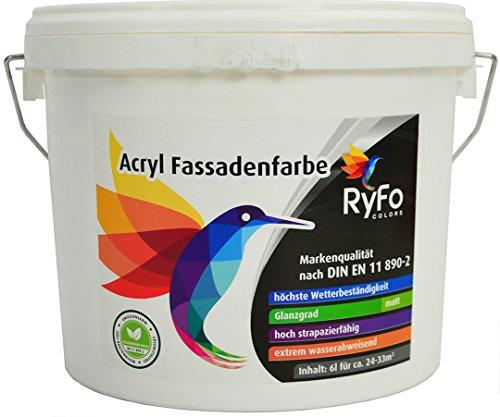 RyFo Colors Acryl Fassadenfarbe 6l (Größe wählbar) - weiße Außen-Farbe-Dispersion, Reinacrylat Basis, wasserabweisend, hohe Deckkraft, höchster Wetterschutz, lösemittelfrei