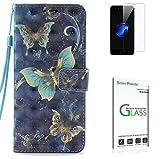 Penlicraft Galaxy S7 Edge Hülle [mit Panzerglas],Galaxy S7 Edge Handyhülle, PU Leder 3D Ölgemälde Technologie dunkle Farbe Handyhüllen für Samsung Galaxy S7 Edge(DREI Schmetterlinge)