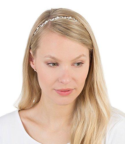 SIX Haarschmuck, elastisches Haarband mit silberner Blüten-Kette mit weißem Strass (252-973)