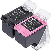 AmazonBasics - Wiederaufbereitete Tintenpatrone für HP 301, Schwarz und Dreifarbig