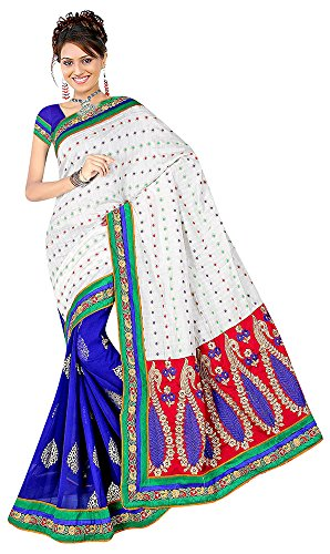 Raghavjee Sarees Women's Brocade & Georgette Saree (Blue)