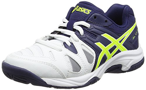 Asics Gel-Game 5 Gs, Zapatillas de Tenis, Infantil, Blanco (White/Indigo Blue/Safety Yellow), 39 EU