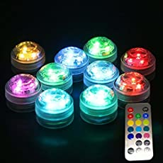 1X Remote Control Submersible LED Candle Tea Light Waterproof RGB Under Water Lamp Decoration