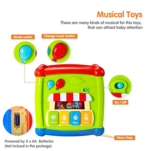 tumama Baby Activity Cube Toys, 6 in 1 Multi-purpose Baby Early Educational Toys for 12 to 18 Months 1 2 3 Years Old Boys and Girls, Baby Shape Sorter and Piano Musical Toys