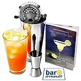 bar@drinkstuff Cocktailmix-Set mit Buch, Mixer und Glas, Messbecher und Sieb