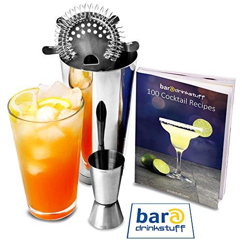 Drinkstuff Bar - Juego básico de utensilios de coctelería (coctelera Boston, vaso medidor, colador de gusanillo y libro con recetas en inglés)